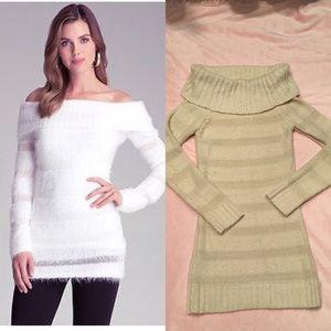 Bebe Women Cream Fuzzy Tunic Sweater